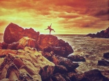 Surfing at Big Sur