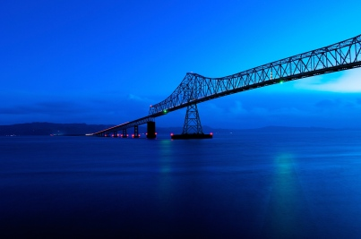 Sunrise during the blue hour. Columbia River, Astoria, Oregon